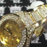 cubic zirconia studded men's watch