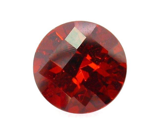 Custom Cut CZ Checker Round Garnet