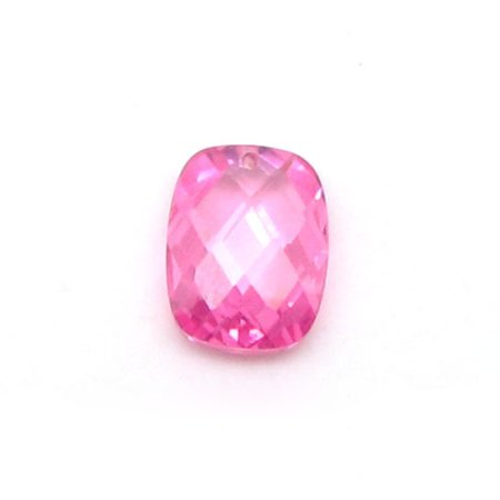 Custom Cut CZ Double Checker Cushion Pink