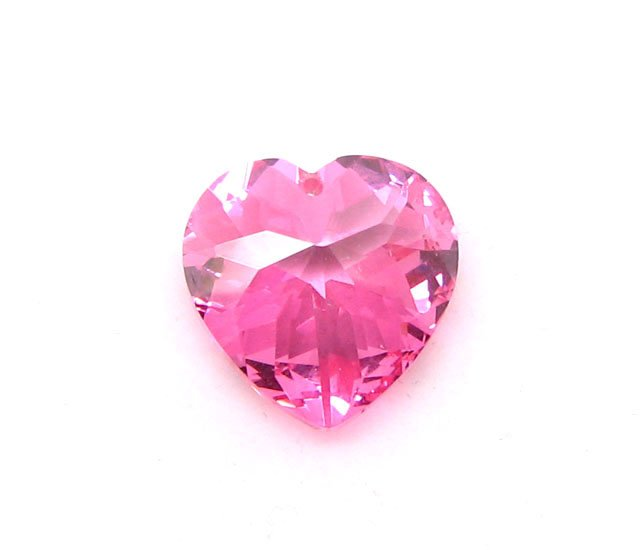 Custom Cut Double Pointed CZ Stone Heart Pink