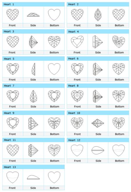 Custom Cut Heart CZ Stone Designs