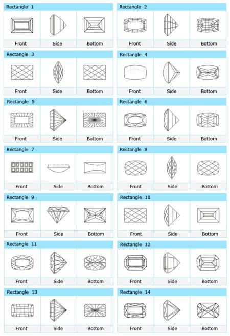 Custom Cut Rectangle CZ Stone Designs