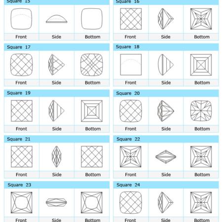 Custom Cut Square CZ Stone Designs 2