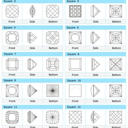 Custom Cut Square CZ Stone Designs