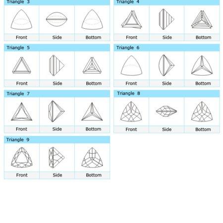 Custom Cut Triangle and Trillion CZ Stone Designs