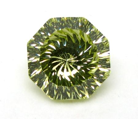 Octagon Vortex Millennium Cut CZ Stone Olive