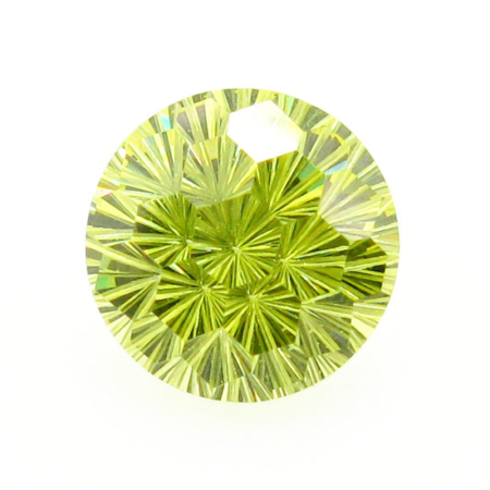 Round Gold Chrysanthemum Cut CZ stone